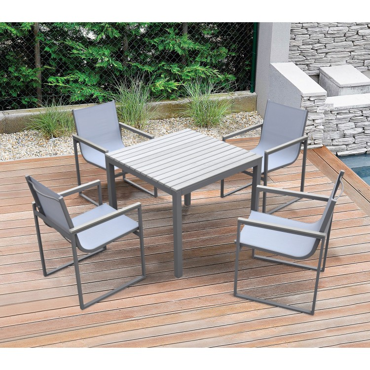 Bistro Dining Set Grey Powder Coated Finish (Table With 4 Chairs)