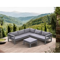 Armen Living Cliff Outdoor Patio Aluminum Sectional in Grey Powder Coated Finishwith Grey FabricCushions