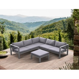Cliff Outdoor Patio Aluminum Sectional in Grey Powder Coated Finish with Grey Fabric Cushions