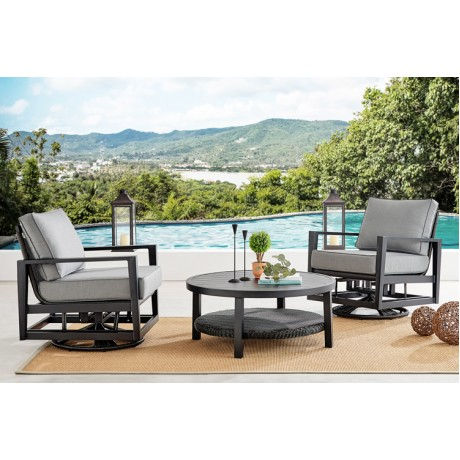 Caymen 3 Piece Black Aluminum Outdoor Seating Set with Dark Gray Cushions