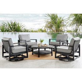 Caymen 5 Piece Black Aluminum Outdoor Seating Set with Dark Gray Cushions