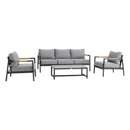 Crown 4 Piece Black Aluminum and Teak Outdoor Seating Set with Dark Grey Cushions