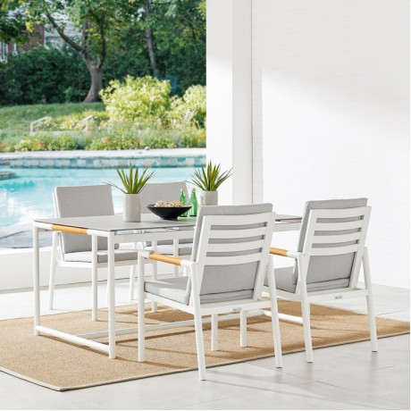 Crown 5 Piece White Aluminum and Teak Outdoor Dining Set with Light Grey Fabric
