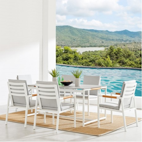 Crown 7 Piece White Aluminum and Teak Outdoor Dining Set with Light Grey Fabric