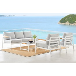 Crown 4 Piece White Aluminum and Teak Outdoor Seating Set with Light Grey Cushions