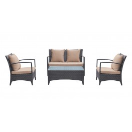 Armen Living Havana 4 piece Outdoor Wicker Patio Set with Brown Fabric Cushions and Tempered Glass Top