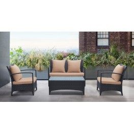 Havana 4 piece Outdoor Wicker Patio Set with Brown Fabric Cushions and Tempered Glass Top