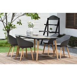 Ipanema 5 piece Outdoor Dining Set with Aluminum Table in Natural Teak Wood