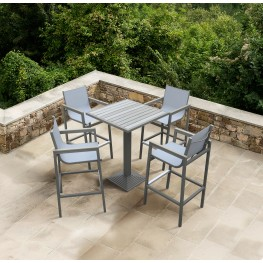 Marina Outdoor Patio Set Grey Finish and Grey Wood Top (Table with 4 barstools)