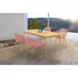 Nassau 5 piece Outdoor Dining Set in Natural Wood Finish Table and Pink Peony Arm Chairs