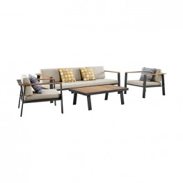 Nofi 4 piece Outdoor Patio Set in Charcoal Finish with Taupe Cushions and Teak Wood