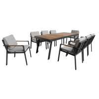 Armen Living Nofi Outdoor Patio Dining Set in Charcoal Finish with Taupe Cushions (Table with 8 chairs)