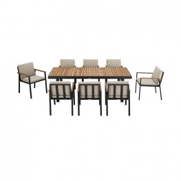 Nofi Outdoor Patio Dining Set in Charcoal Finish with Taupe Cushions (Table with 8 chairs)