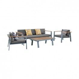 Nofi 4 piece Outdoor Patio Set in Gray Powder Coated Finish with Gray Cushions and Teak Wood