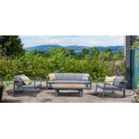 Armen Living Nofi 4 pieceOutdoor Patio Set in Charcoal Finish with Gray Cushions and Teak Wood