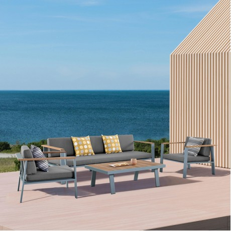 Nofi 4 piece Outdoor Patio Set in Gray Finish with Gray Cushions and Teak Wood