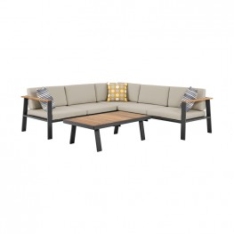 Nofi Outdoor Patio Sectional Set in Charcoal Finish with Taupe Cushions and Teak Wood