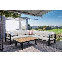 Armen Living Nofi Outdoor PatioSectional Set in Gray Finish with Taupe Cushions andTeak Wood