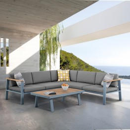 Armen Living Nofi Outdoor Patio Sectional Set in Charcoal Finish with Gray Cushions and Teak Wood
