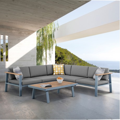 Nofi Outdoor Patio Sectional Set in Gray Powder Coated Finish with Gray Cushions and Teak Wood
