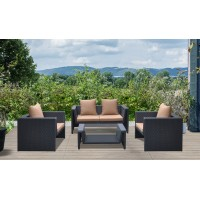Armen Living Oahu 4 piece Outdoor Wicker Patio Set with Brown Fabric Cushions and Temperated Glass Top