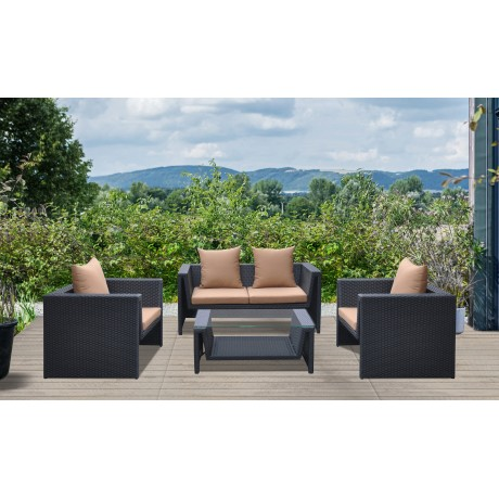 Oahu 4 piece Outdoor Wicker Patio Set with Brown Fabric Cushions and Temperated Glass Top