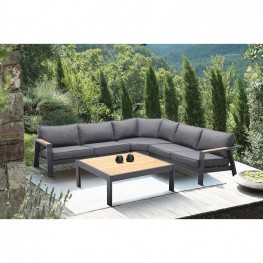 Palau 4 Piece Outdoor Sectional Set with Cushions in Dark Grey and Natural Teak Wood Accent