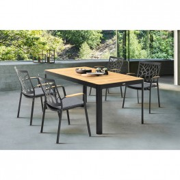Portals Outdoor 5 piece Dining Table Set in Black Finish and Natural Teak Wood Accent Top