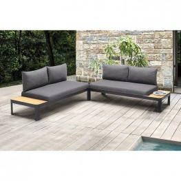 Portals Outdoor 2 piece Sofa Set in Black Finish with Natural Teak Wood Accent