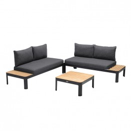 Portals Outdoor 3 Piece Sofa Set in Black Finish with Natural Teak Wood Top Accent