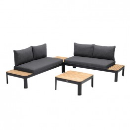 Portals Outdoor 4 Piece Sofa set in Black Finish with Natural Teak Wood Top Accent