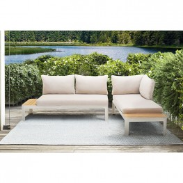 Portals Outdoor 2 Piece Sofa Set in Light Matte Sand Finish with Beige Cushions and Natural Teak Wood Accent