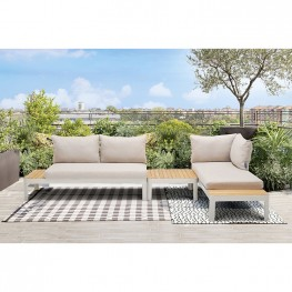 Portals Outdoor 3 Piece Sofa Set in Light Matte Sand Finish with Natural Teak Wood  Top Accent
