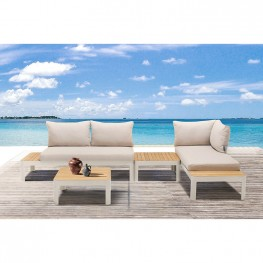 Portals Outdoor 4 Piece Sofa set in Matte Sand Finish with Natural Teak Wood