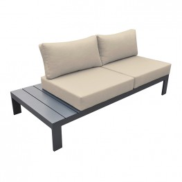Razor Outdoor 4 piece Sectional set in Dark Grey Finish and Taupe Cushions