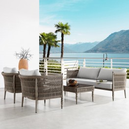 Safari 4 Piece Outdoor Aluminum and Rope Seating Set with Beige Cushions
