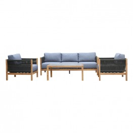 Sienna 4 Piece Acacia Wood Outdoor Sofa Seating Set with Teak Finish and Grey Cushions