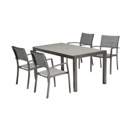 Solana 5 piece Outdoor Aluminum Dining Set in Cosmos Grey Finish with Wood Top
