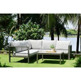 Solana Outdoor Sectional Set in Cosmos Finish with Grey Cushions and Coffee Table