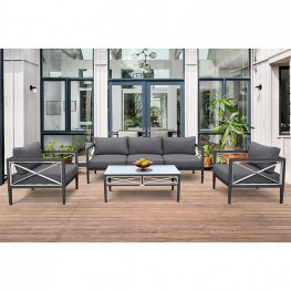 Sonoma Outdoor 4 piece Set in Dark Grey Finish and Charcoal Cushions