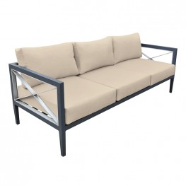 Sonoma Outdoor 4 piece Set in Dark Grey Finish and Taupe Cushions