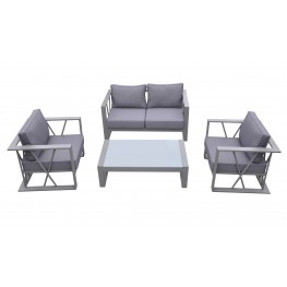 Armen Living St Bars 4 piece Outdoor Patio Aluminum Set with Grey Fabric Cushions and White Glass Top