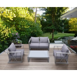 St Bars 4 piece Outdoor Patio Aluminum Set with Grey Fabric Cushions and White Glass Top