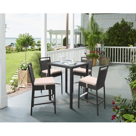 Tropez Outdoor Patio Wicker Bar Set (Table with 4 barstools)