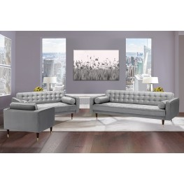 Somerset Grey Velvet Mid Century Modern Sofa Seating Set
