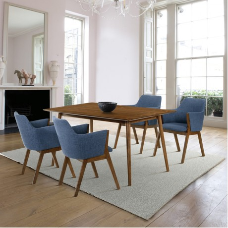 Westmont and Renzo Blue and Walnut 5 Piece Dining Set