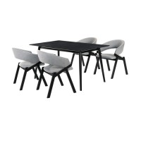 Westmont and Talulah Grey and Black 5 Piece Dining Set
