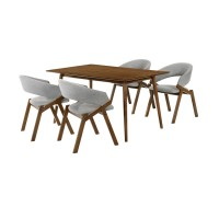 Westmont and Talulah Grey and Walnut 5 Piece Dining Set