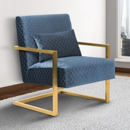 Armen Living Skyline Contemporary Accent Chair in Blue Velvet with Gold Brushed Steel finish