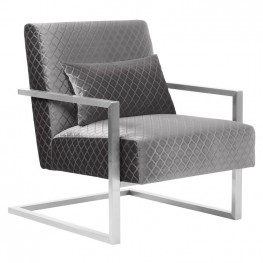 Armen Living Skyline Contemporary Accent Chair in Gray Velvet with Polished Silver Steel finish